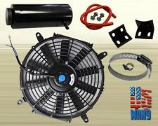 "16"" Slim/Thin 12V Push/Pull Electric Radiator Cooling Fan + Overflow Tank Black"