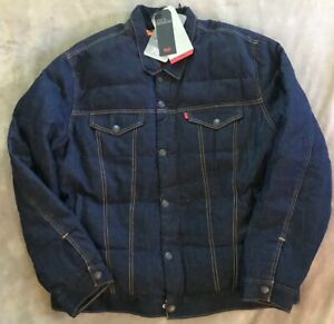 Levis Premium Trucker Jacket Allied Down Filled Puffer Mens Sizes S and M NEW