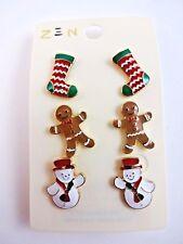 Christmas Earrings 3 Pairs Stockings Snowman Gingerbread Man Enamel Studs