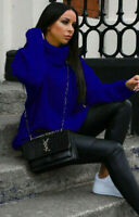 Womens Ladies Chunky Knitted High Polo Neck Jumper Dress Sweater Long Top 8-16