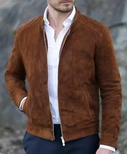 Mens Fashion brown Suede biker Jacket, casual Suede Jacket for men, Men jackets