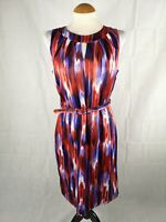 Ladies Dress Size 12 DEBENHAMS Red Blue Satin Party Evening Wedding Races