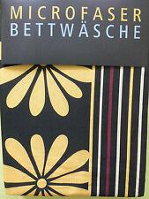 Microfaser Set edel Bettwäsche m. Reißv. Garnitur 135x200, 80x80 schwarz gelb