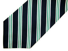 Huntington Boys Necktie Tie Navy Blue Green White Striped Silk Usa Made