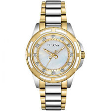 Bulova Women's Quartz Diamond Markers Mother of Pearl Dial 36mm Watch 98P140