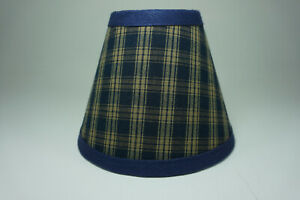Country Primitive Navy Sturbridge Plaid Fabric Chandelier Lampshade Lamp Shade