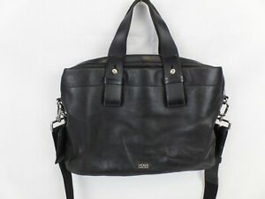 Hugo Boss Black Leather Carry On Luggage bag with shoulder strap and luggage tag