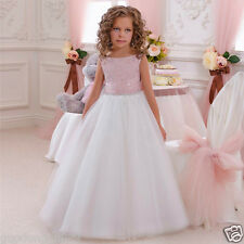 NEW Flower Girl Dress Lace Princess Formal Pageant Wedding Bridesmaid Party