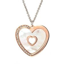 Sterling silver 925 Italian mother of pearl heart pendant chain rose gold plated