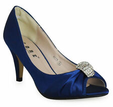 NEW WOMENS BRIDE WEDDING PARTY PROM SHOES HEELS PEEPTOE DIAMANTE SHOES SIZE 3-8
