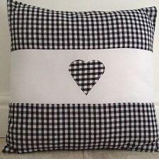 "New HandMade Vintage Black Gingham Heart Aplique Scatter Cushion Cover 16"""