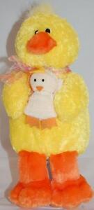 "Easter Mom Baby Chick Yellow White Orange Bow Gund Plush 12"" Stuffed Toy Lovey"
