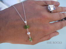 DESIGNER PERIDOT NECKLACE STERLING SILVER PEARL GREEN AUGUST BIRTHSTONE JEWELRY
