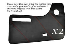 RED STITCH 2X DOOR CARDS LEATHER SKIN COVERS FITS VW T2 WESTFALIA CAMPER