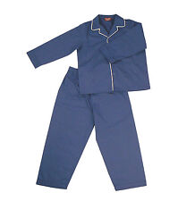PYJAMA SUIT SLEEPWEAR 100% COTTON  CLASSIC BLUE WITH WHITE PIPING  3-5 YRS
