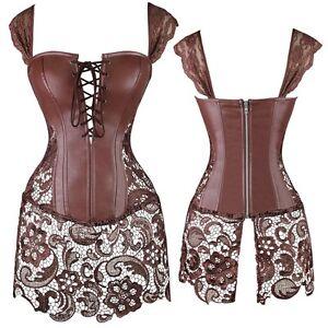 Women's Victorian Sweetheart Steampunk Corset Bustier Dress Basque Lace Skirt