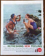 1961 Ozzie & Harriet Coca Cola Coke Vintage Print Ad Scuba Diving Beach Soda Pop