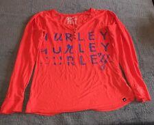 Hurley Womans medium Long Sleeve Tshirt  Orange Cotton