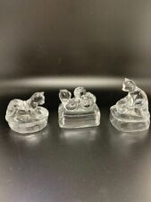 3 Avon Cats 24% Lead Crystal Glass Animal Paperweight 1995 Collectibles Figurine