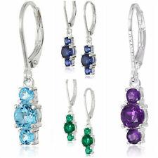 4 Colors Elegant Drop Earrings Women 925 Silver Jewelry Cubic Zircon A Pair/set