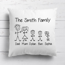 Personalised Stick Family Kids Childrens Cushion Cover Pillow Case & Filling