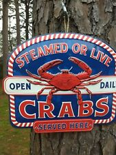 New Steamed Crabs Served Here seafood restaurant style embossed metal sign