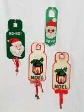 VTG Cross StitchDoor Knob Plastic Hanger Signs Canvas Christmas Pattern Leaflet