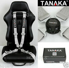 1 TANAKA UNIVERSAL GRAY 4 POINT CAMLOCK QUICK RELEASE RACING SEAT BELT HARNESS