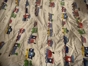 Pottery Barn Kids Ryder Choo Choo Train Fitted Crib Sheet