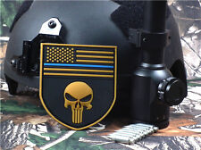 3D PVC PUNISHER USA FLAG SKULL POLICE BLUE LINE SHIELD HOOK RUBBER PATCH TAN