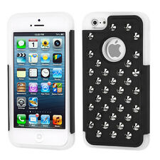 For iPhone 5 5S SE HYBRID IMPACT Silver Studs Case Phone Cover Black White