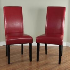 Red Leather Dining Room Chairs (Set of 2) Parson High Back Chair Furniture New