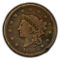 1838 1c Coronet Head Large Cent SKU-Y2610