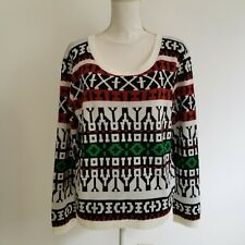 Wet Seal XL X-Large Sweater Black White Green Rust Scoop Neck Pullover E40MP