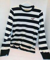 mens HOLLISTER navy & white BOLD striped long sleeved Beach shirt logo S