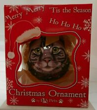 NEW Tabby, Silver Cat Ornament Christmas Ball from E&S Pets