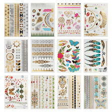 12Pcs Women & Ethic Style Temporary Stickers Waterproof Metallic Flash Tattoos