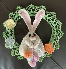 Vintage Hand Crochet Bunny Wreath Egg Ornaments Decor Farmhouse Shabby Chic