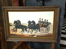 Original Signed Norma Mansfield Oil Painting Horse Carriage Western California