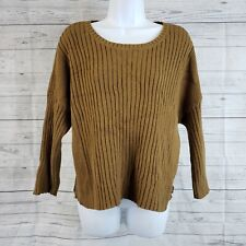 Cabi 3364 Womens Luna Pullover Cropped Boxy Sweater Sz Med Brown Ribbed Knit Top