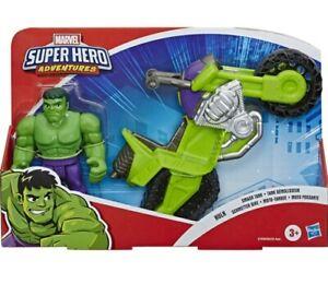 "Marvel Super Hero Adventures Hulk Smash Tank 5"" Figure and Motorcycle Set"
