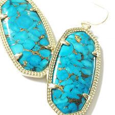 NEW! Kendra Scott Elle Drop Earrings Brass Veined Turquoise & Dust Cover
