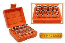 "Set bussole torx 14 pezzi 1/4"" 3/8"" 1/2"" misure da 4 a 24 mm in cromo vanadio"