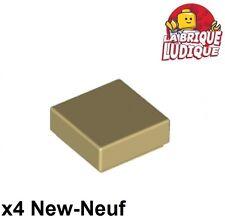 Lego - 4x Tile plaque lisse 1x1 with Groove beige foncé/dark tan 3070b NEUF