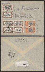Bolivia 1951 - Registered Cover La Pas to Malines Belgium A222