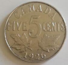 1926 Far 6 Canada Five Cents Coin. KEY DATE BETTER GRADE Nickel (RJ89)