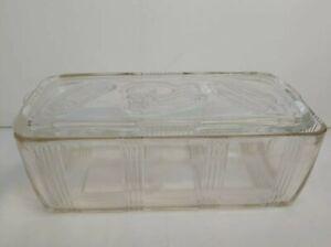 Vintage Clear Federal Glass Refrigerator Dish & Lid Ribbed Embossed Vegetable