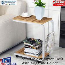 New Bed Side Sofa Table Office Laptop Desk Magazine Rack Wheels Natural Oak