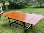 Vintage J. L. Treharn tiger maple dining table in the country style w 2 leaves
