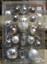 New Pottery Barn SILVER CRITTERS Christmas Holiday Ornaments - Set of 20